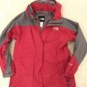 The North Face Rain Jacket Youth XL Crimson/Grey